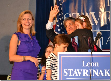 Rep. Leon Stavrinakis is joined by his family as he concedes the election for mayor of Charleston to John Tecklenburg. (Photo/Liz Segrist)