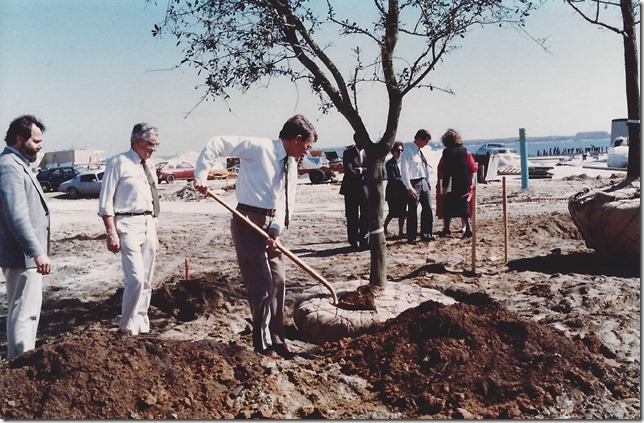 Mayor Joe Riley plants a tree during the construction of the Waterfront Park, which opened in 1990. (Photo/Provided by the city of Charleston)