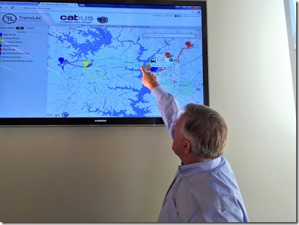 Clemson Area Transit CEO Al Babinicz shows a map of the Catbus system in real time. The technology is a result of a partnership between Catbus and TransLoc. (Photo by Matthew Clark)
