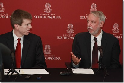 Darla Moore School of Business economists Joseph Von Nessen (left) and Doug Woodward expect South Carolina to experience a seventh straight year of economic growth in 2016. (Photo/James T. Hammond)