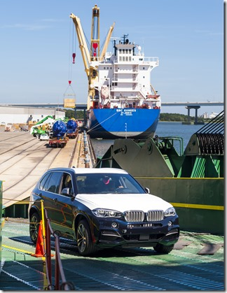 A BMW X model is being loaded onto a ship at the Port of Charleston. BMW Manufacturing Co. reported an export value of nearly $10 billion for 2015. (Photo provided by BMW Manufacturing Co.)