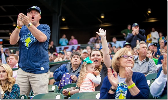 A crowd of more than 9,000 showed up for the Fireflies inaugural home opener on April 14. (Photos/Jeff Blake)