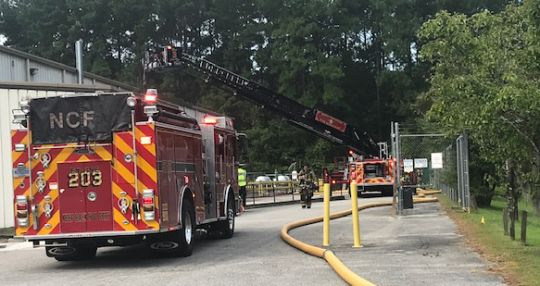 Uniform laundry catches fire in North Charleston