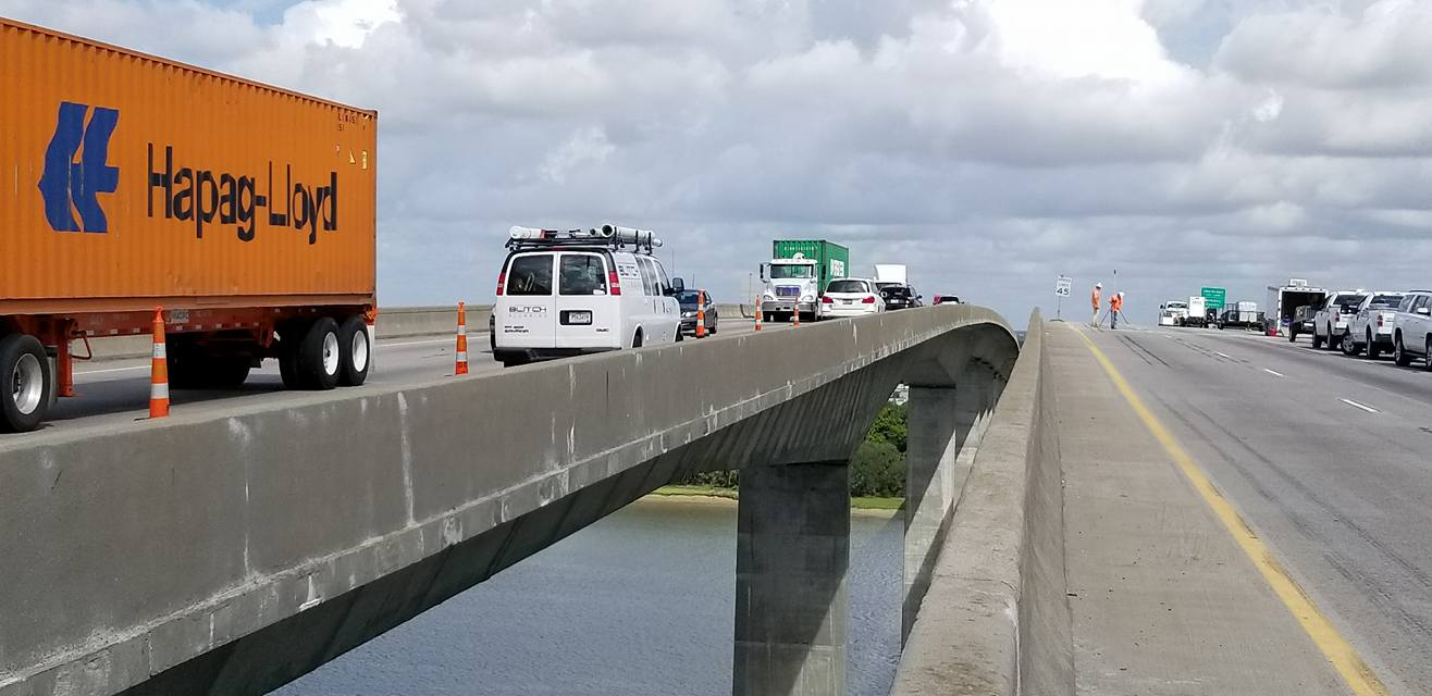 Work continues on the Interstate 526 westbound lanes over the Wando River. (Photo/Rob Thompson/SCDOT)