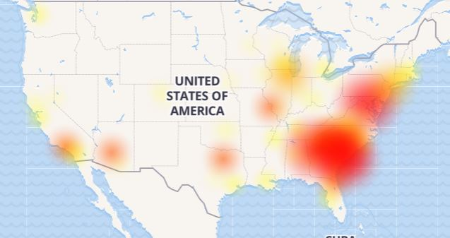 A map shows AT&T's outage areas, as of about 3 p.m. today.