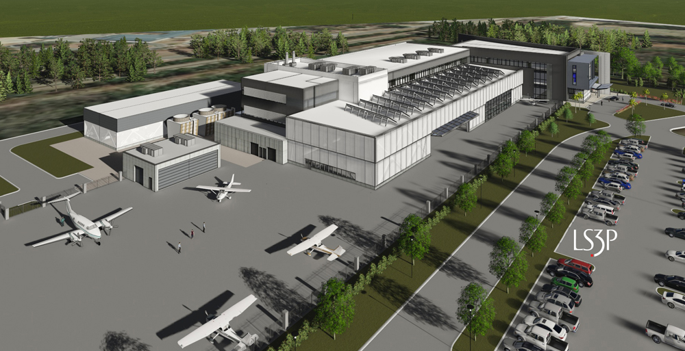 The 224,000-square-foot center will have classrooms, shops, labs and open bays to accommodate aircraft, large aircraft parts and training aids. (Rendering/Provided)