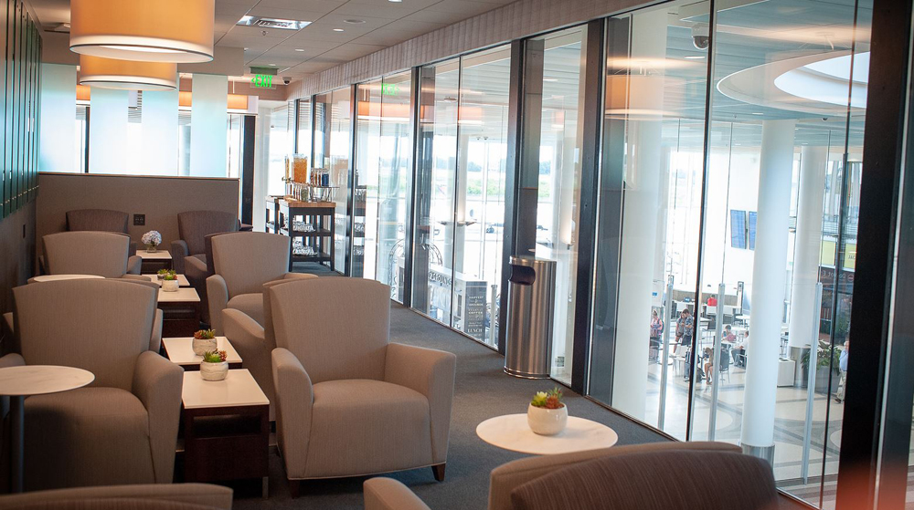 The Club CHS is a 3,060-square-foot lounge that seats up to 52 people on the second floor of the airport's main concourse. The lounge has six zones for airline passengers to relax or get work done. (Photo/Provided)