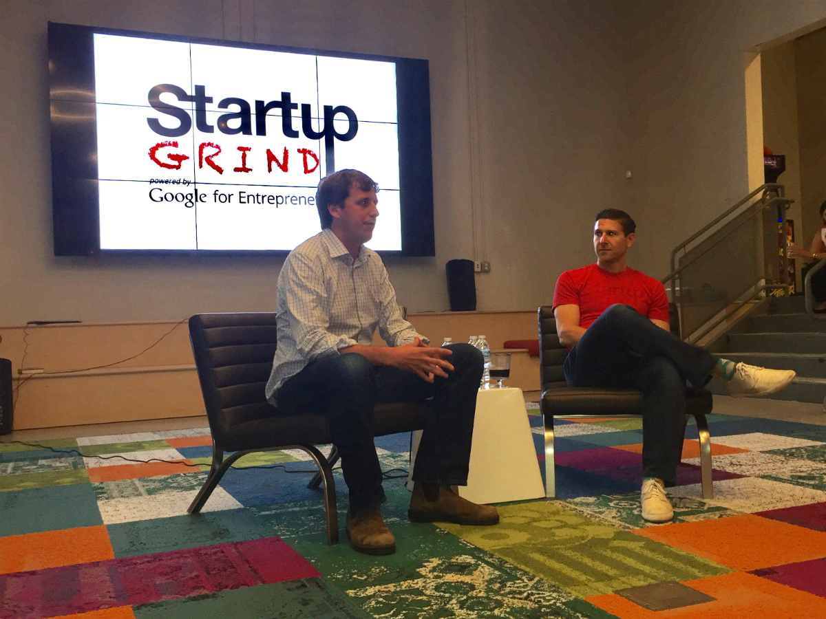 Grier Allen, CEO and co-founder of BoomTown, talks to Jeremy Berman at Startup Grind Charleston about developing and founding a startup. (Photo/Thomas Heath)