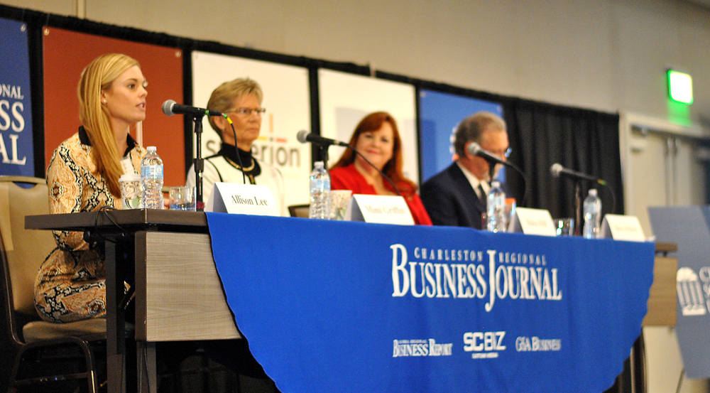 Allison Lee (left) answers a question during the Charleston Regional Business Journal's Power Breakfast this morning. (Photo/Ryan Wilcox)