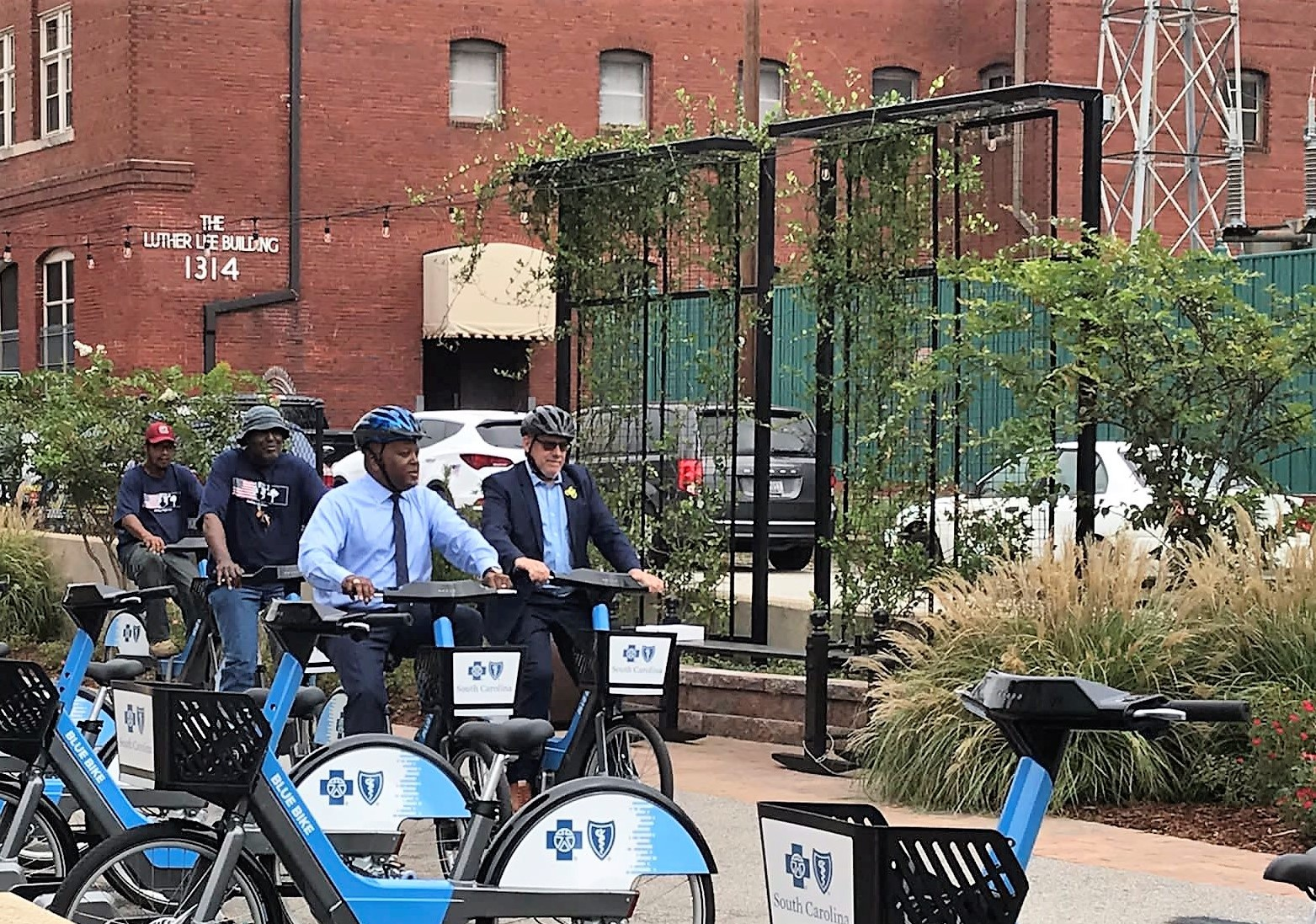 Columbia Mayor Steve Benjamin cycles to a news conference kicking off the city's new bike share program. (Photo/Provided)