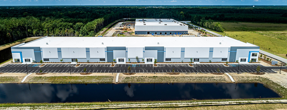 This 136,500-square-foot industrial speculative building at the Charleston Trade Center is on 12.9 acres with 32-foot clearance inside and 18 dock doors for trucks. The building has two drive-in doors with ramps for forklifts, Frampton Construction said in a news release. (Photo/Provided)
