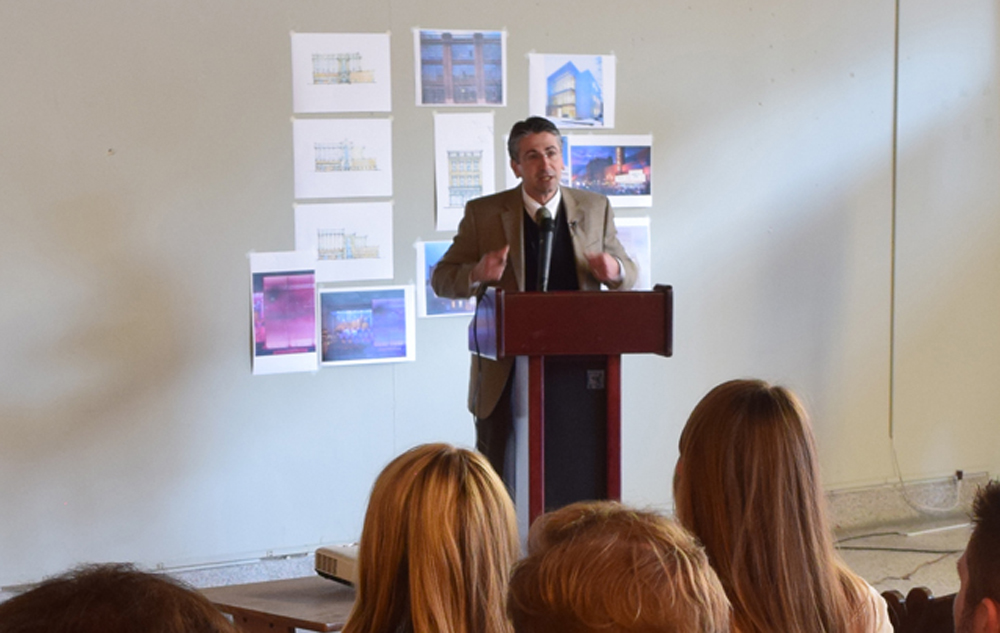 Christian Sottile, an architect with Savannah-based Sottile and Sottile, presented the draft conceptual master plan of the Morris Sokol site to community members on Friday. (Photo/Ashley Heffernan)