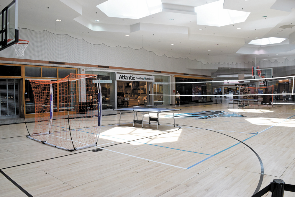 "Richard Davis said the basketball court in the middle of Citadel Mall is just a ""hood ornament"" to offer people a teaser of what's to come at the shopping center. (Photo/Patrick Hoff)"