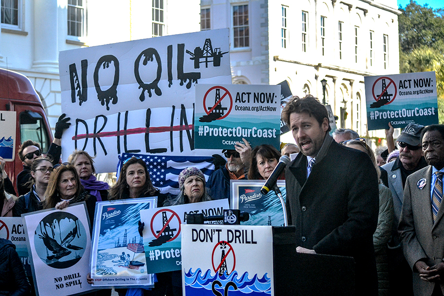 U.S. Rep.-elect Joe Cunningham, D-Charleston, said he plans to file a federal bill to ban offshore drilling along the East Coast. Cunningham spoke during a news conference Tuesday on Broad Street. (Photo/Liz Segrist)