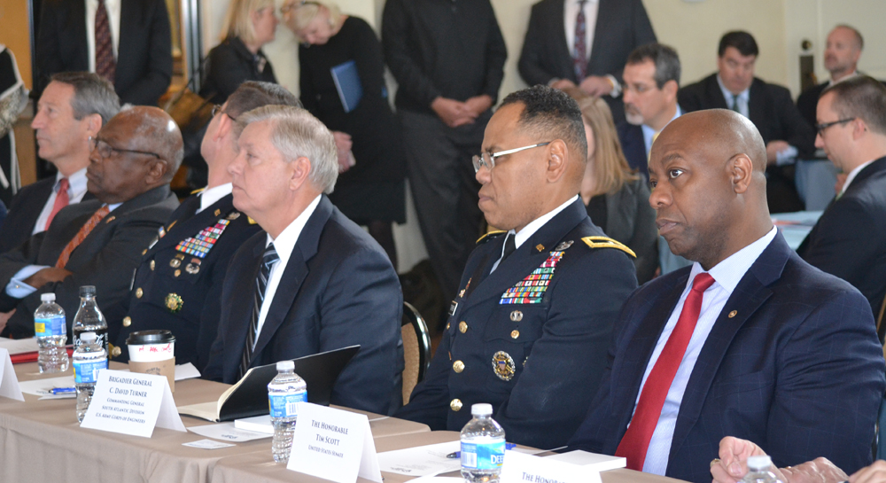 U.S. Reps. Mark Sanford (from left) and Jim Clyburn, Maj. Gen. Donald Jackson Jr., U.S. Sen. Lindsey Graham, Brig. Gen. C. David Turner and U.S. Sen. Tim Scott listen as business leaders and port officials talk about the need for a deeper Charleston Harbor. (Photo/Liz Segrist)