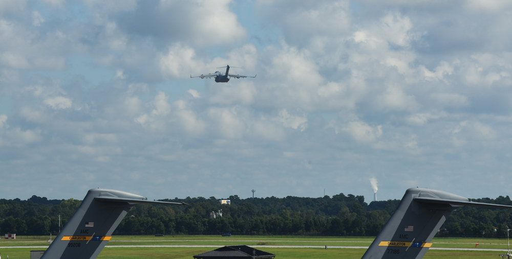 A C-17 Globemaster III takes off as part of the Hurricane Florence evacuation at Joint Base Charleston. The Joint Base Charleston commander issued a limited evacuation order to safeguard personnel and equipment from the effects of the storm. (Photo/Airman 1st Class Danielle Sukhlall for the Air Force)