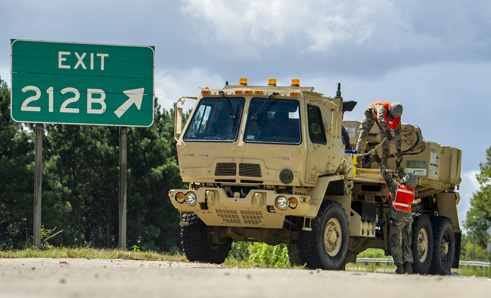 S.C. National Guard soldiers from the 118th Forward Support Company set up equipment to assist disabled vehicles during the lane reversal of Interstate 26 in North Charleston. Approximately 2,000 soldiers and airmen have been mobilized to respond to Hurricane Florence. (Photo/Sgt. Brian Calhoun, 108th Public Affairs Detachment, National Guard)