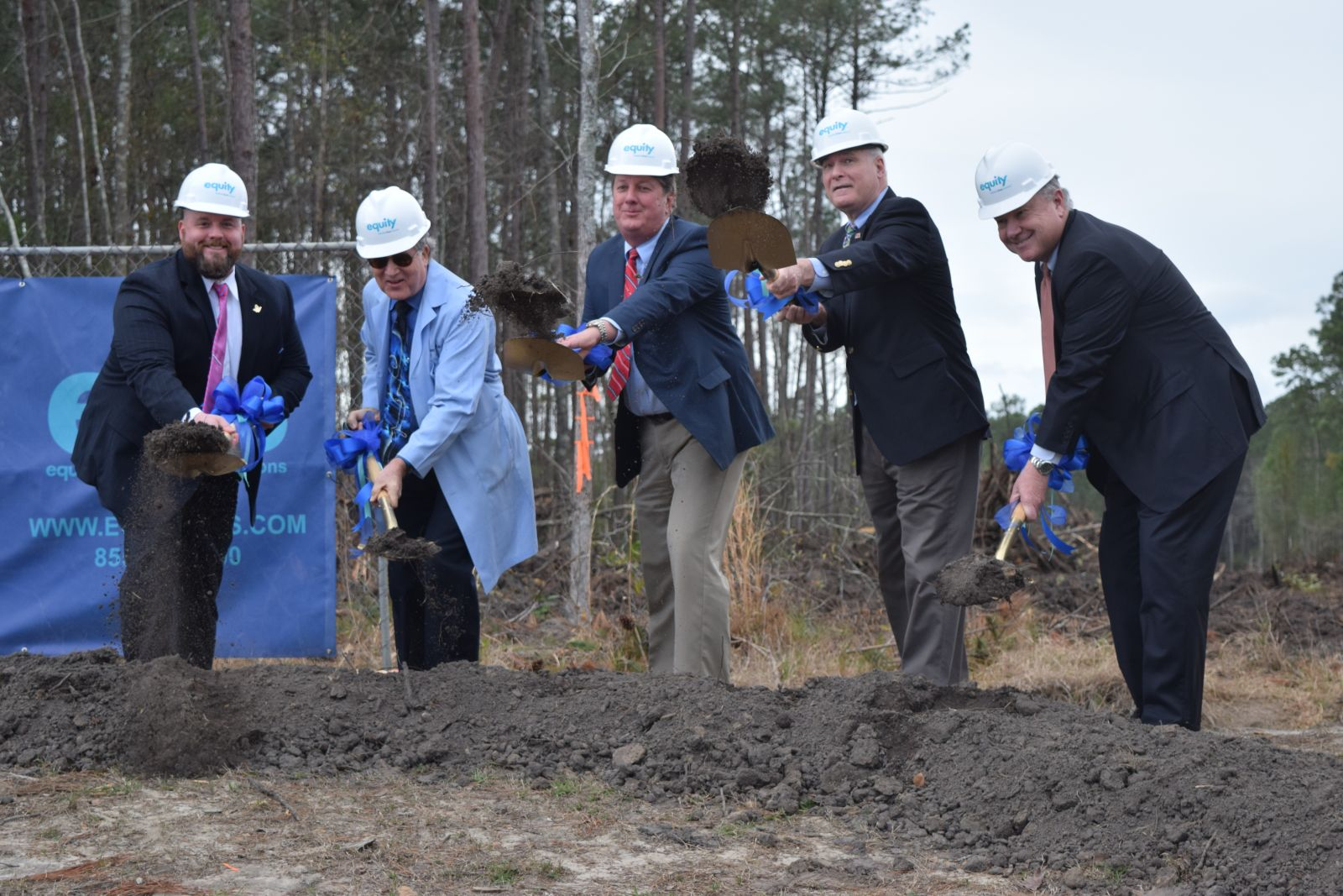 Ground was broken Wednesday for a Palmetto Primary Care Physicians medical office building in the Nexton community in Summerville. Palmetto Primary Care Physicians CEO Terry Cunningham (from left), President Dr. Brantley Arnau, Equity Partners CEO Steve Wathen, Summerville Mayor Wiley Johnson and WestRock Land and Development President Ken Seeger took park in the ceremony. (Photo/Ashley Heffernan)
