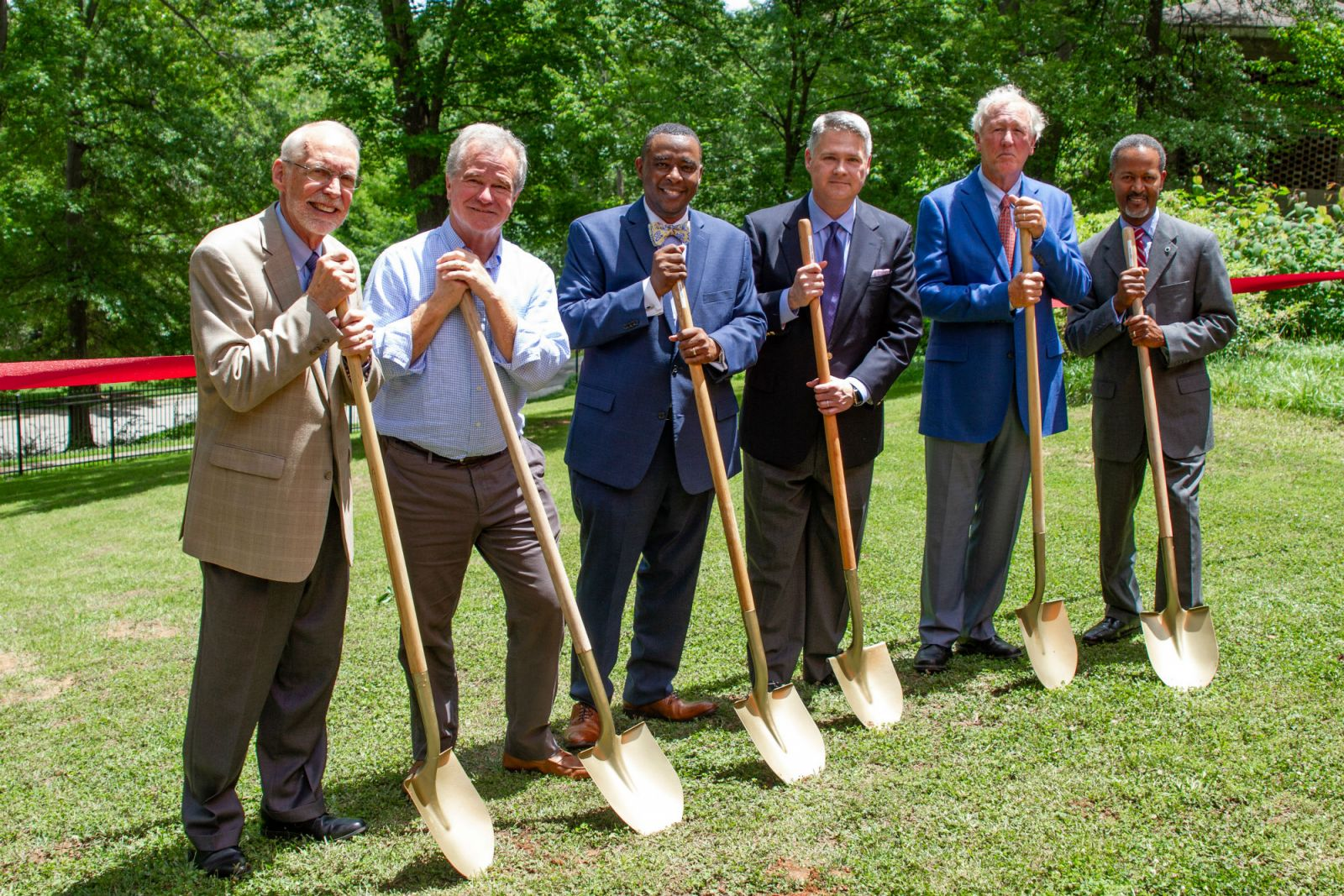 Participating in the groundbreaking of the new music building for the S.C. Governor's School for the Arts and Humanities were, from left, Bruce Halverson, former president; Bob Hughes, board member; LeShown Goodwin, board member; Chad Prosser, board chairman; Peter Parrott, board member and Cedric Adderley, president. (Photo/Provided)