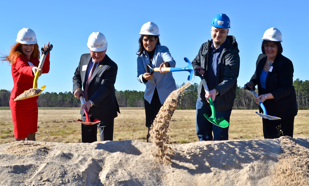 Gov. Nikki Haley (center) attended the groundbreaking of Google's data center facility in Berkeley County. The company announced plans Tuesday to spend another $600 million on its campus. (Photo/File)