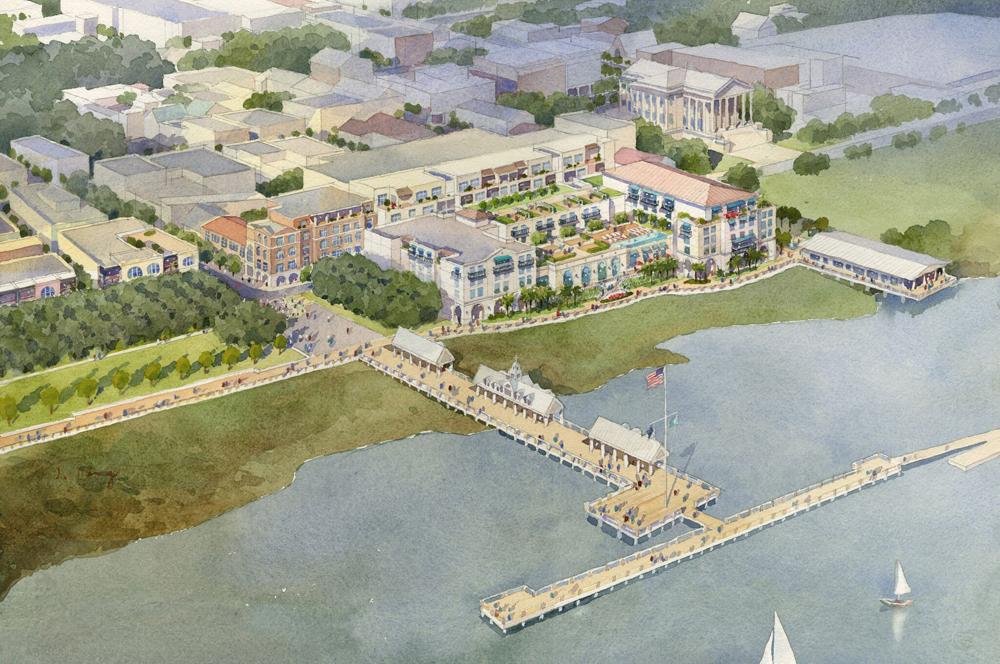 The new hotel project planned for the site could include an extended public waterfront space and a marina for public use. (Rendering/Provided)