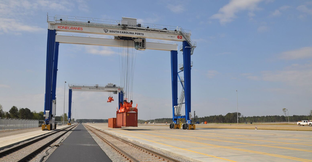 The state's second inland port opened for business this month in Dillon County. Companies can use the site to send their products to the Port of Charleston via rail rather than by truck. (Photo/S.C. Ports Authority)