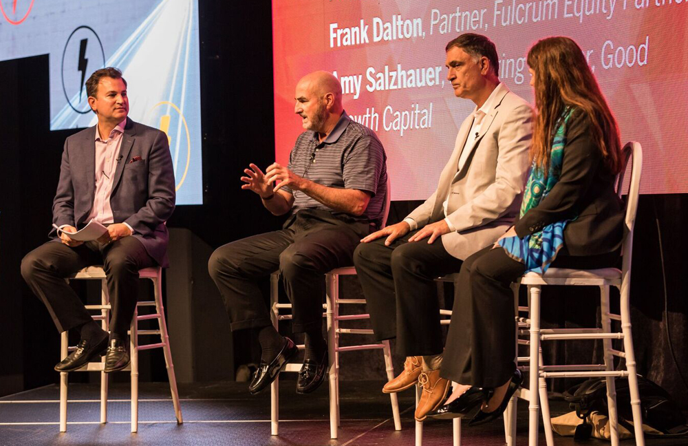 Alexander Chalmers (from left) of IronBridge Capital, Frank Dalton of Fulcrum Equity Partners, Paul Iaffaldano of BIP Capital and Amy Salzhauer of Good Growth Capital spoke at Dig South about pitching to investors. (Photo/Adam Chandler)