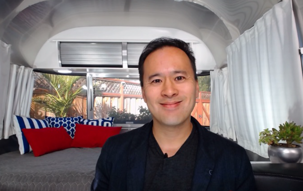 Jeremiah Owyang, an independent tech analyst in Silicon Valley, bought a 22-foot Airstream RV, parked it in his backyard and souped it up for video calls. (Photo/Jeremiah Owyang)
