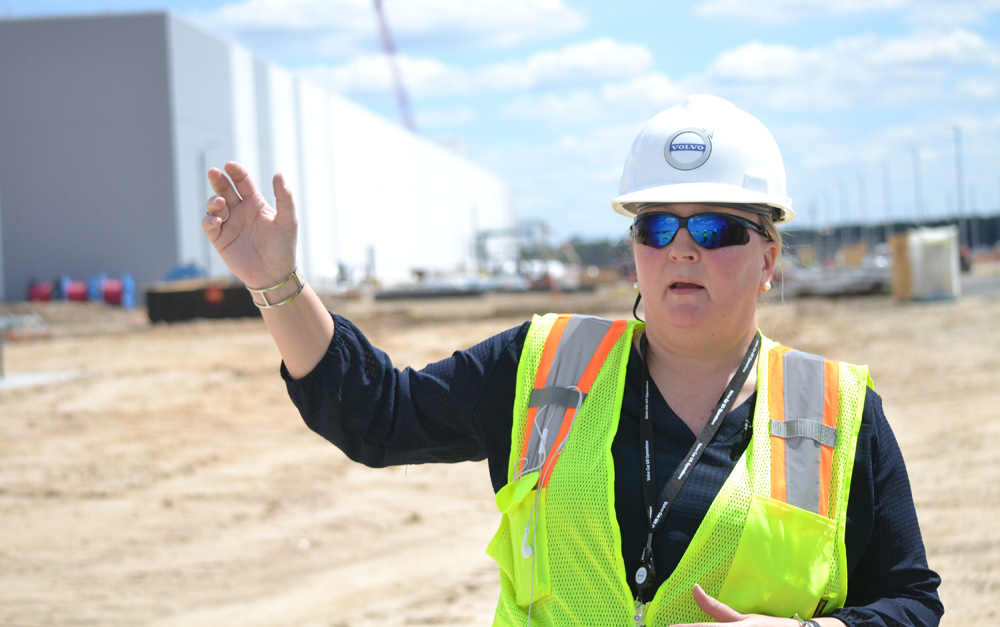 Katarina Fjording, Volvo Cars executive, talks about progress at the company's Berkeley County manufacturing site. (Photo/Liz Segrist)