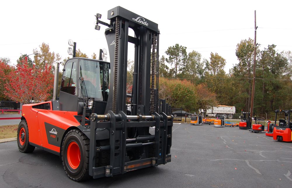 It's not uncommon for Kion's forklift trucks to sell for as much as $100,000, including options. (Photo/Andy Owens)