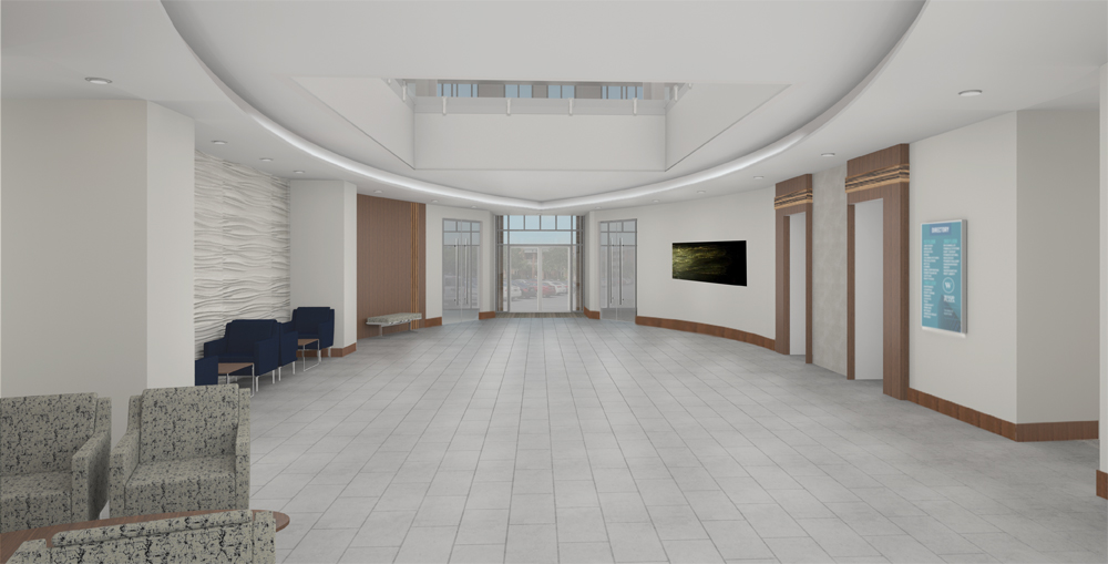 The four-story office building at 115 Fairchild St. on Daniel Island is undergoing a major renovation to attract new tenants after T-Mobile vacated the space earlier this year. The project includes updates to the lobby and a new outdoor seating area for future employees. (Rendering/Provided)