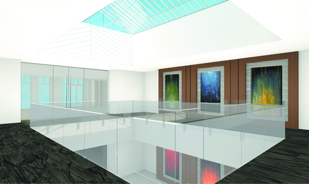 The building's owners, the Ecclestone family of Palm Beach, Fla., said Daniel Island is an attractive office market. They invested $2.5 million to renovate the space, including new glass railings in the atrium. (Rendering/Provided)