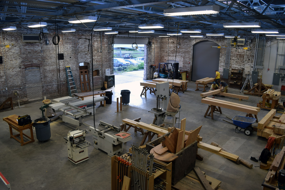 The newly renovated trolley barn site now includes large spaces for American College of the Building Arts students to learn and practice wood, iron and trowel trades. (Photo/Ashley Heffernan)