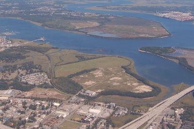 The 160-acre Lorelei tract sits near Romney Street and Morrison Drive north of the Arthur Ravenel Jr. Bridge. A view from the air shows Laurel Island at the middle, with Drum Island on the right and Daniel Island straight ahead. (Photo/Andy Owens)