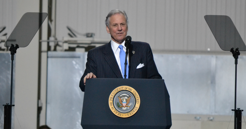 "S.C. Gov. Henry McMaster said the rollout of the 787-10 Dreamliner marked possibly ""the single best day in the history of South Carolina."" (Photo/Liz Segrist)"
