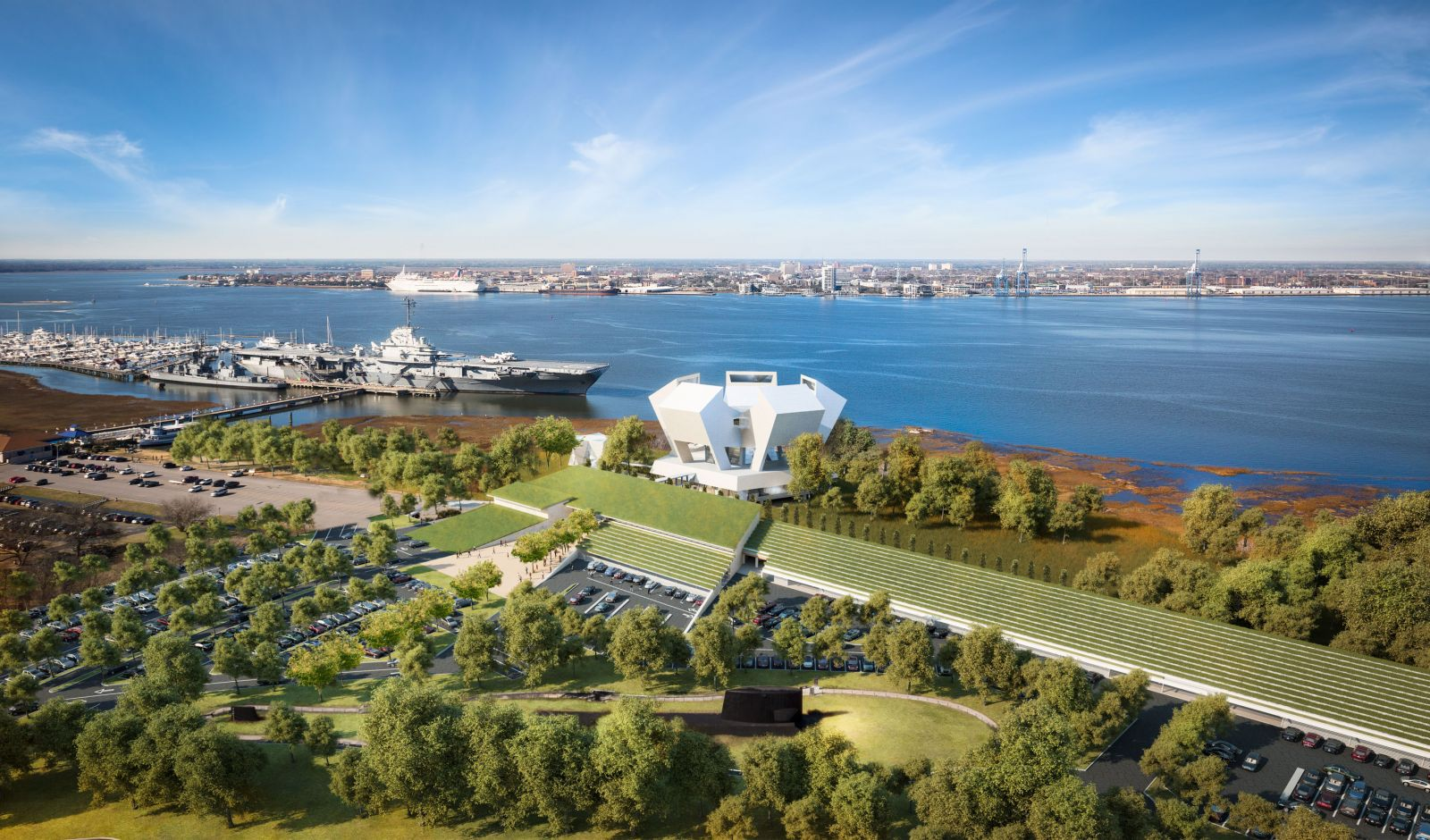 The National Medal of Honor Museum site will include a grass-topped pavilion (foreground), the main museum (center) and a chapel (left of the museum building). (Rendering/Safdie Architects for the National Medal of Honor Museum)