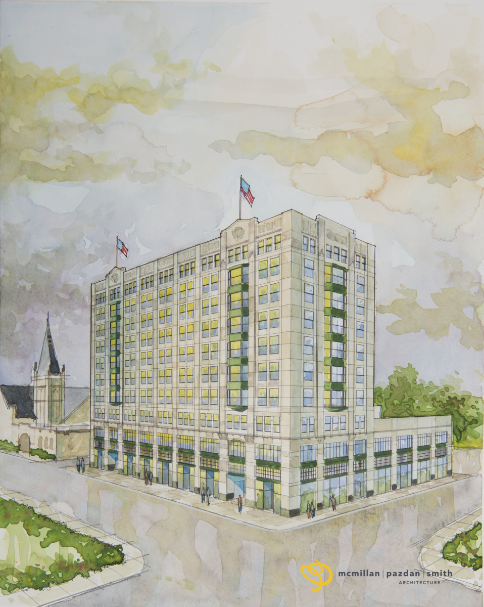 This is a rendering of the Montgomery Building in downtown Spartanburg. The building's owner has already started renovations on the historic site. (Rendering provided)