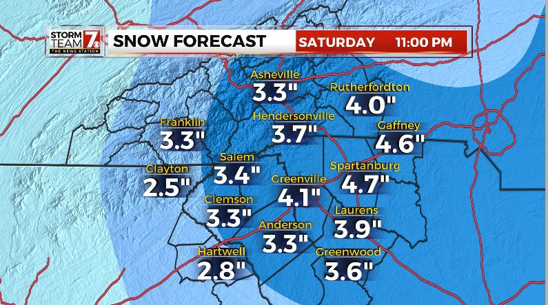 Several inches of snow is in the forecast. (Map/WSPA)