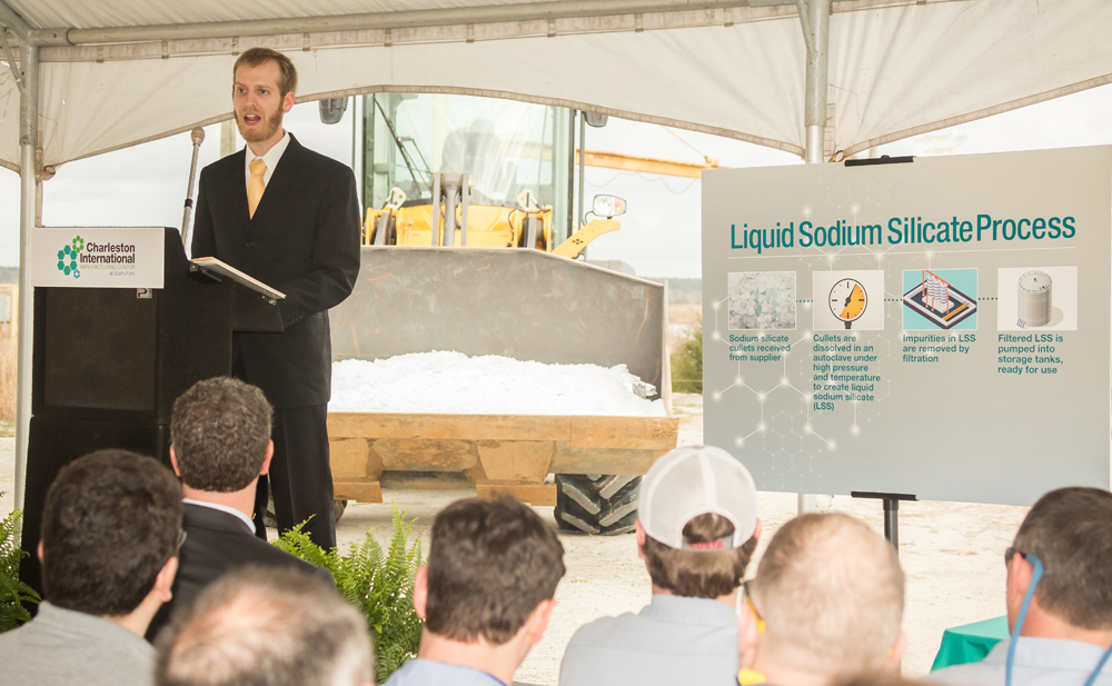 Nathan Wingate, who will oversee the new facility, said sodium silicate is used in everyday products. (Photo/Paul Cheney Photography)