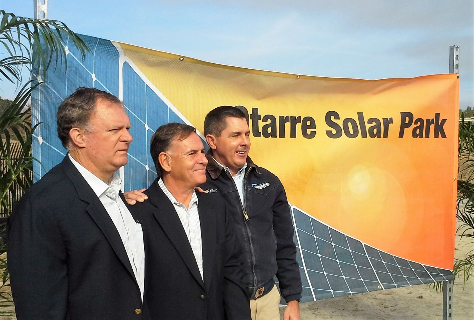 Dave McNeil (left to right), Grant Reeves and Keller Kissam at Tuesday's dedication of the Otarre Solar Park in Cayce. (Photo/Travis Boland)