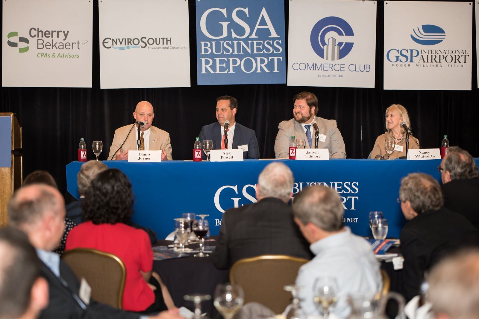 Panelists at the GSA Business Report Power Event were, from left, Danny Joyner, president, Berkshire Hathaway Home Services, C. Dan Joyner; Alex Powell, Spartanburg development and leasing manager, Johnson Development Associates; Jansen Tidmore, executive vice president, Spartanburg Downtown Development Partnership, and Nancy Whitworth, deputy city manager and director of economic development, city of Greenville. (Photo/Kathy Allen)