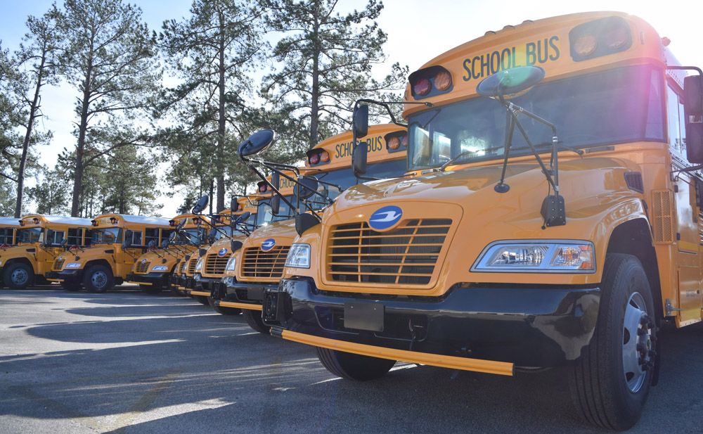 The S.C. Department of Education purchased 26 new propane-powered school buses — 16 for Berkeley County School District and 10 for Dorchester School District 2 — for $91,325 each. Each bus includes a Ford 6.8L V-10 engine and a Roush CleanTech propane fuel system. (Photo/Ashley Heffernan)