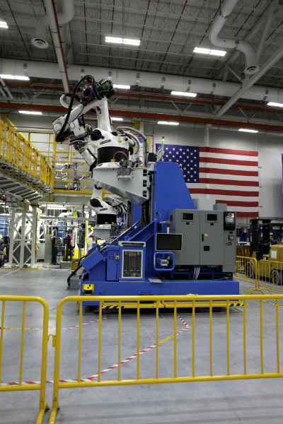 Boeing South Carolina integrated a new robot into its Dreamliner production in North Charleston earlier this year. The Quadbot has four, spinning arms that can affix thousands of fasteners to airplane parts faster than humans or previous machines. (Photo/Kim McManus)