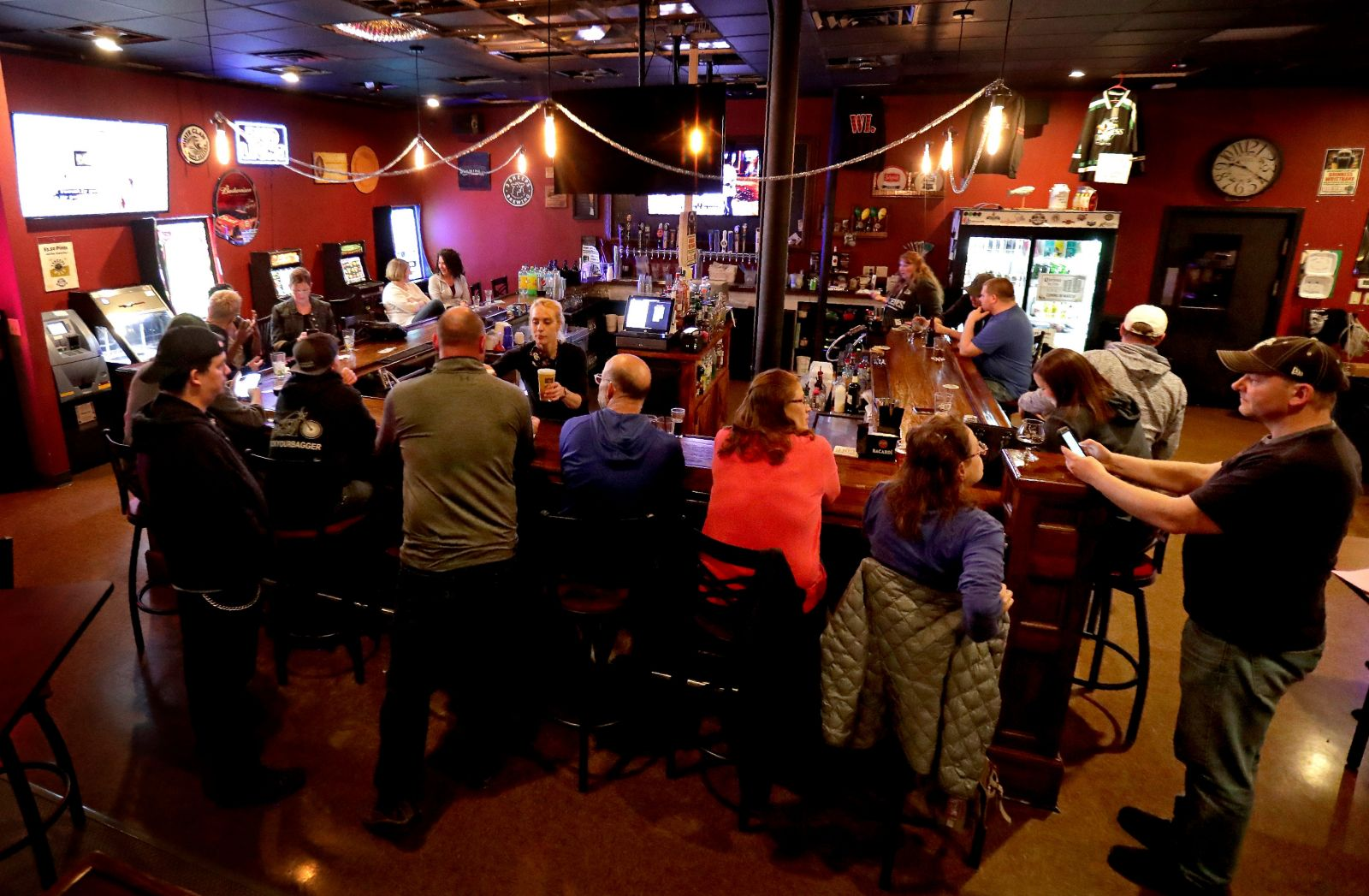 The Dairyland Brew Pub opened to patrons after the Wisconsin Supreme Court's decision to strike down Gov. Tony Evers' safer-at-home order on May 13 in Appleton, Wis. (Photo/William Glasheen, Milwaukee Journal Sentinel)
