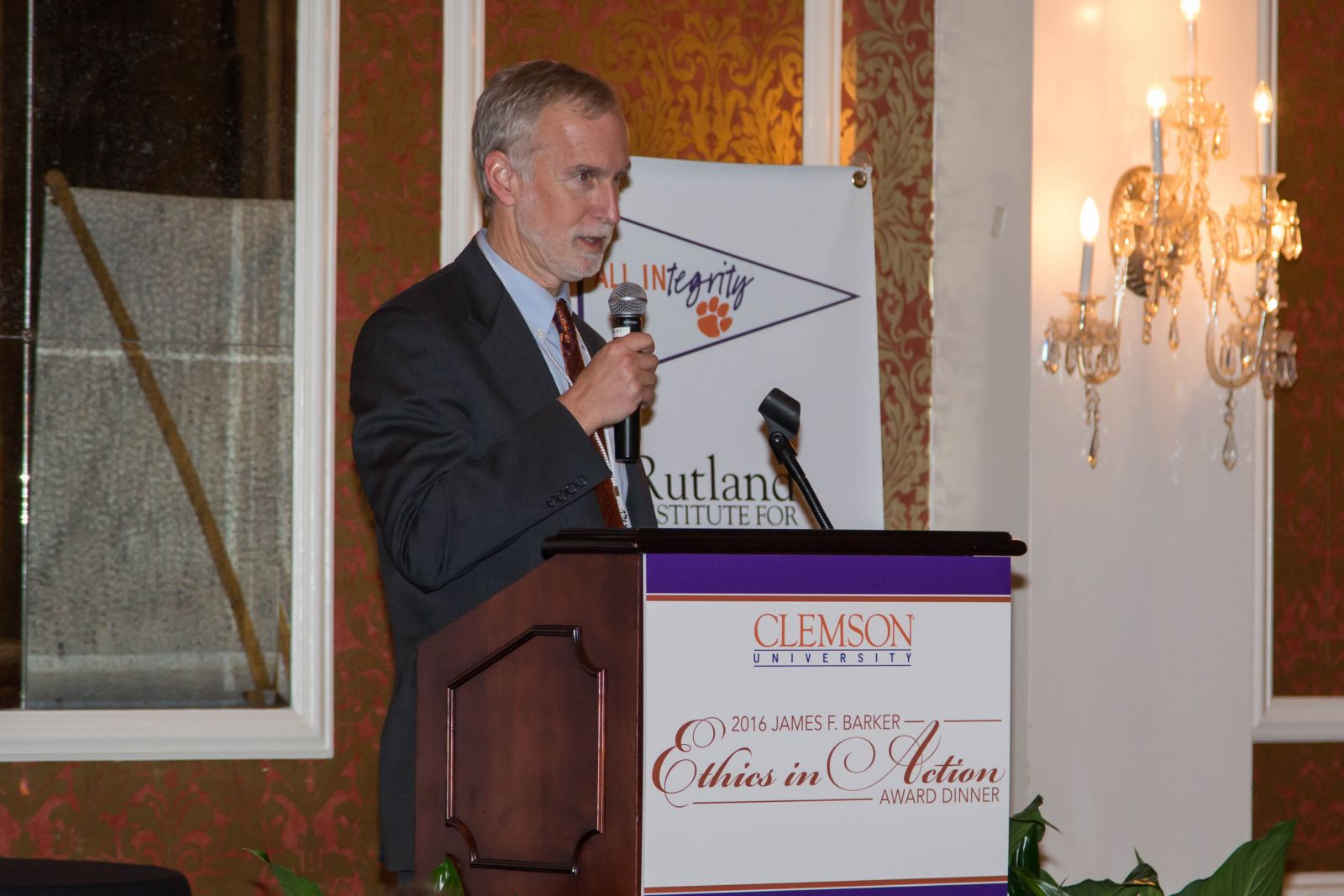 Robert Jones, Clemson University provost and executive vice president for academic affairs, addresses a croud during the presentation of the 2016 James F. Barker Ethics in Action Award dinner Thursday, Feb. 9, 2017 at the Poinsett Club in Greenville. (Photo/Serge Kaminski for Patrick Cox Photography)