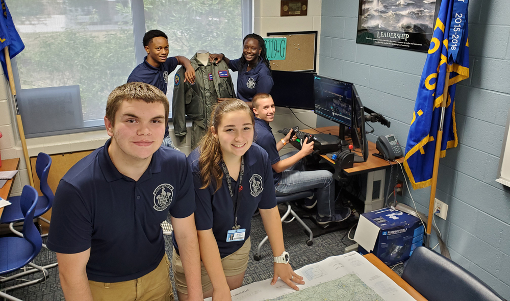 R.B. Stall High School students Andrew Whitney and Kaycee Koontz (front), Keivon Holmes and Antonia Kelly-Caswell (back), and Hunter Kirby have been selected for an Air Force flight training summer program. (Photo/provided)