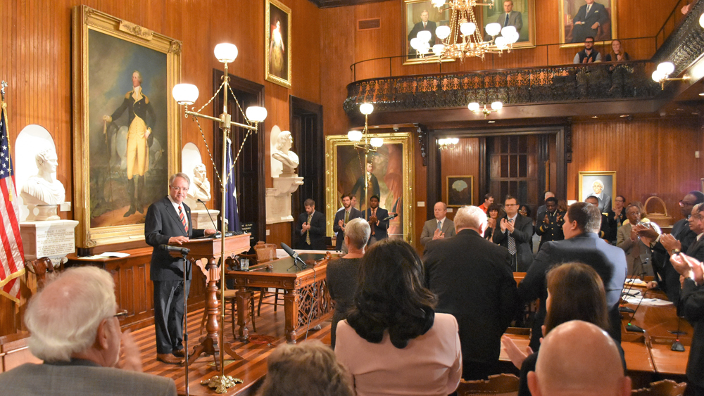 Mayor John Tecklenburg delivered his State of the City address Tuesday night in Charleston City Hall. (Photo/Provided)
