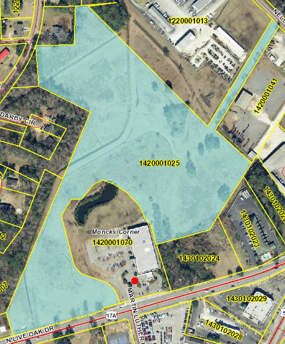 The 22-acre parcel Trident Health purchased partially encircles the current site of the health care system's Moncks Corner Medical Center. (Map/Berkeley County GIS)