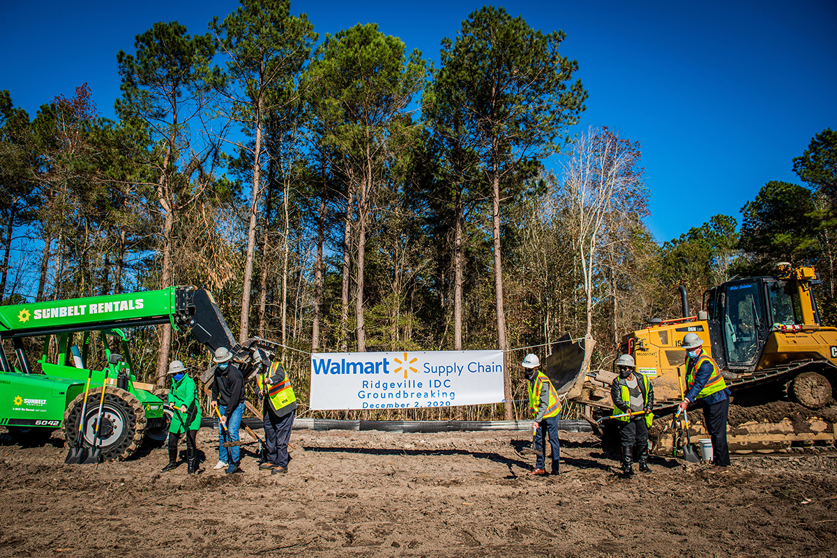 State, county and port officials along with the executive vice president of Walmart's U.S. supply chain, broke ground on the $220 million Walmart Ridgeville Import Distribution Center 7. (Photo/S.C. State Ports Authority)