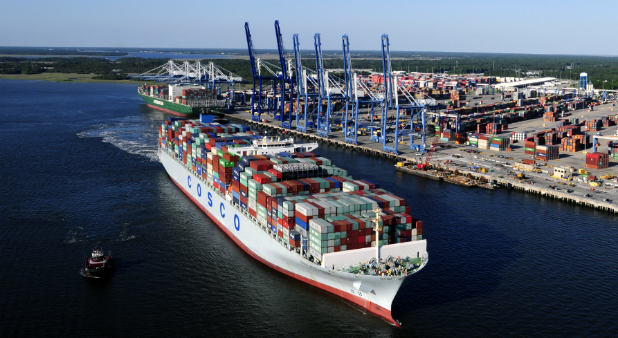 A 52-foot depth in Charleston Harbor and parts of the Wando and Cooper rivers will enable larger container ships to access port terminals, such as the Wando Welch Terminal in Mount Pleasant. (Photo/S.C. Ports Authority)